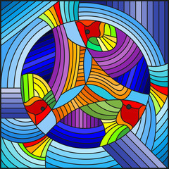 Naklejka Illustration in stained glass style with abstract geometric rainbow fish on blue background