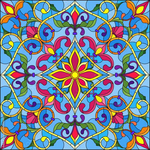 ilustracja-w-stylu-witrazu-kwadratowy-obraz-lustra-z-kwiatowymi-ornamentami-i