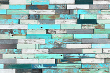 Background Of Colorful Old Painted Grunge Wood Planks