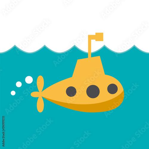 Láminas  Vector sign cheerful submarine