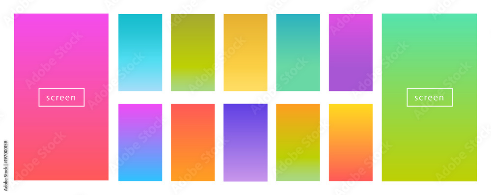Fototapeta Color gradient modern background set. Screen vector design for mobile app. Spring, fresh soft color abstract gradients.