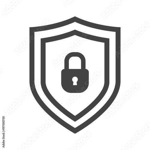 Fototapeta Vector shield icon, emblem with lock