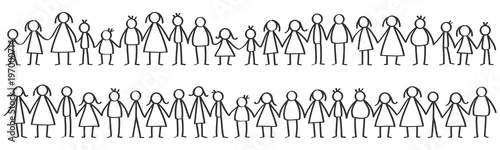 Cuadros en Lienzo  Vector illustration of black male and female stick figures standing in rows hold