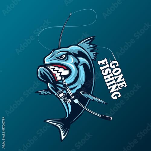 Obraz na plátne Angry piranha fishing logo