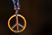 Wooden Peace Symbol Attached T...