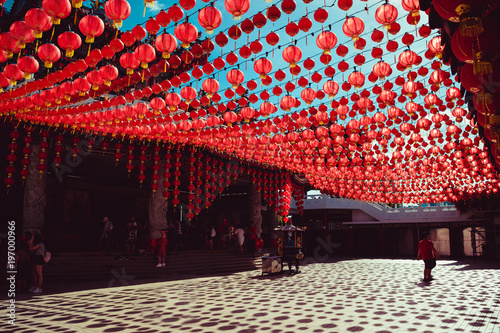 Territory Thean Hou temple. Kuala Lumpur attraction. Travel to Malaysia. Religious background. Tourist landmark. City tour. Place of worship. Architecture concept. Chinese red lanterns decoration