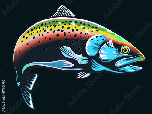 Fotografia Realistic drawing of the rainbow trout jumping out water