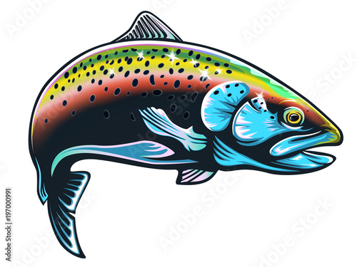 Valokuvatapetti Realistic drawing of the rainbow trout jumping out water