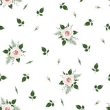 Seamless pattern Vector floral watercolor design. Rustic romantic background print - 197001100