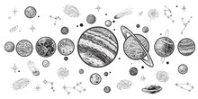 Planets And Space Hand Drawn V...