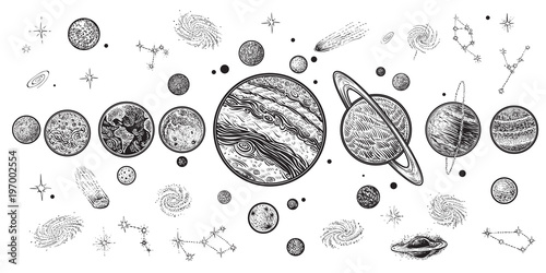 Planets and space hand drawn vector illustration. Solar system with satellites. - 197002554