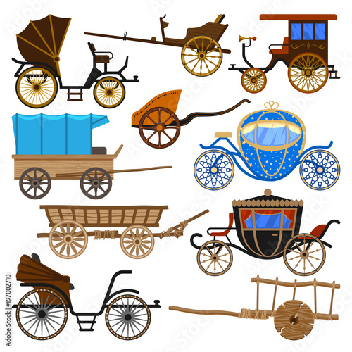 Leinwand Poster Carriage vector vintage transport with old wheels and antique transportation ill
