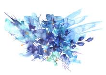 Watercolor Garden Flowers, Blu...