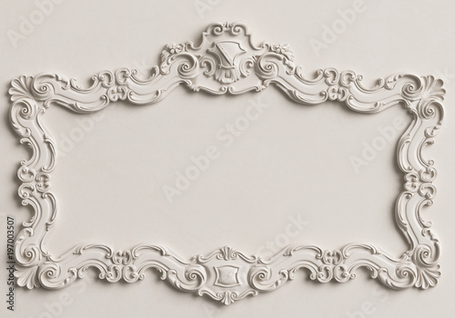 Classic mirror white frame on the white wall.Digital illustration.3d ...