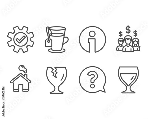 Set of Fragile package, Service and Tea icons  Question mark