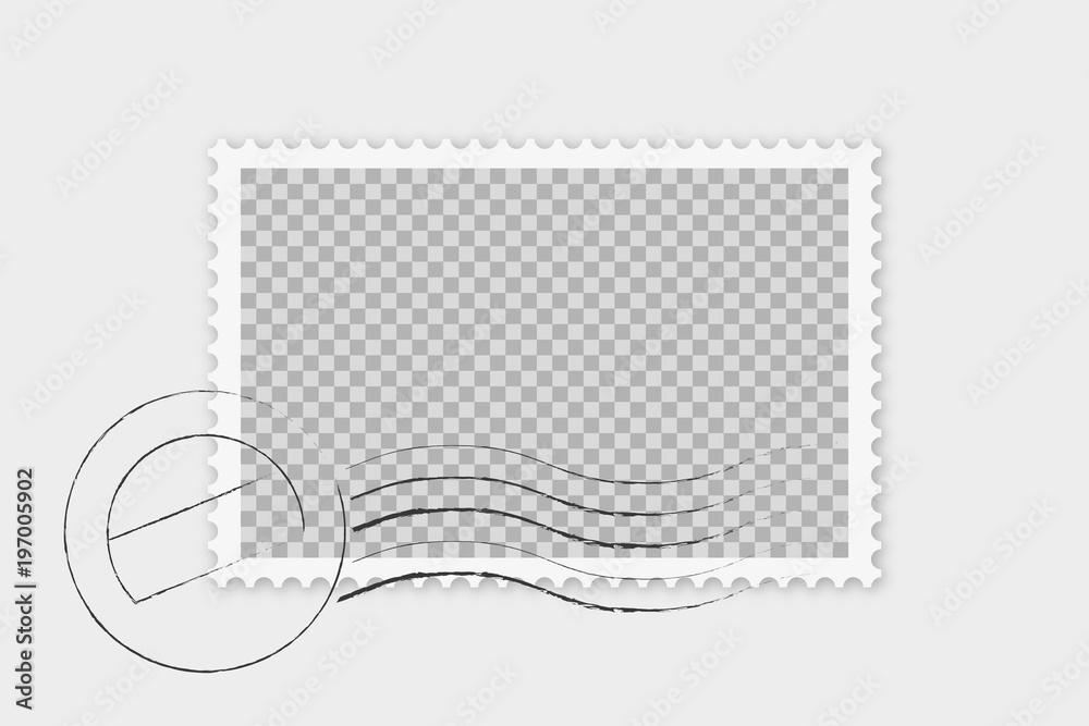 Fototapeta Briefmarke mit Stempel isoliert