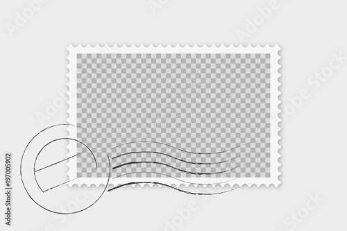 Fotografía  Briefmarke mit Stempel isoliert