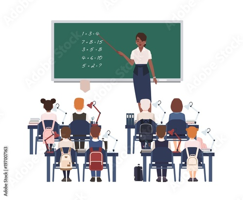 Female math teacher explaining summation to elementary school kids or pupils. Smiling african american woman teaching mathematics or arithmetic to children sitting in class. Vector illustration.