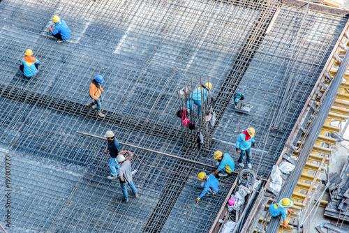 Valokuva  High angle construction workers
