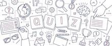 Horizontal Banner With Hands Of People Solving Puzzles, Answering Quiz Questions, Playing Board Games To Test Intelligence Or Intellect Drawn With Lines On White Background. Vector Illustration.