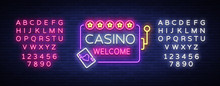 Casino Welcome Logo In Neon St...