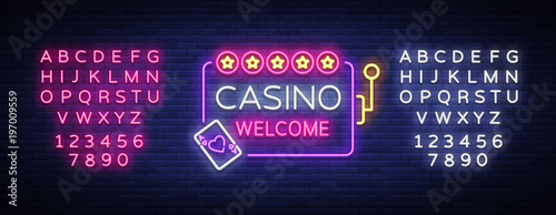 Photo  Casino welcome logo in neon style