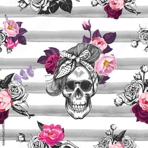 Poster Crâne aquarelle Hipster seamless pattern with skull silhouettes, flowers roses and watercolor stripes at the background. Skull silhouette in engraving. Black and white.