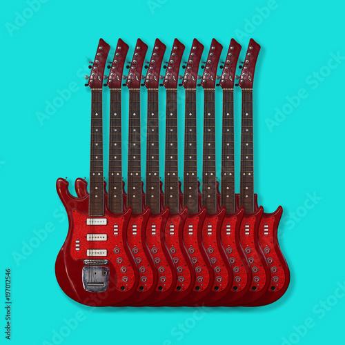 Obraz na plátně Musical instrument - Electric guitars on a blue background