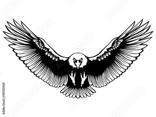 Eagle Emblem Isolated On White Illustration American Symbol Of