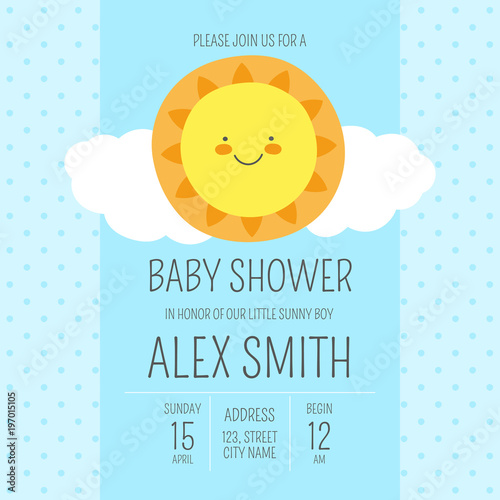Cute Baby Shower Boy Invite Card Vector Template Blue