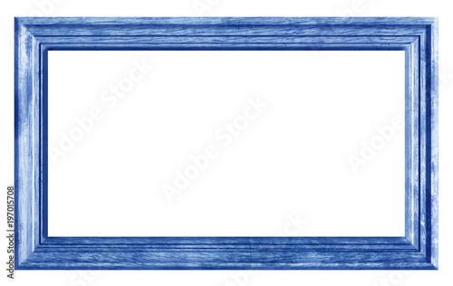 Papiers peints Blanc cadre bois brut naturel vintage bleu