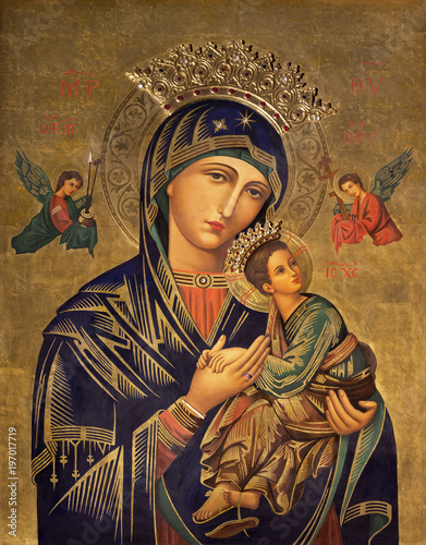 ZARAGOZA, SPAIN - MARCH 1, 2018: The painting icon of Madonna in church Iglesia del Perpetuo Socorro by pater Jesus Faus (1953 - 1959).