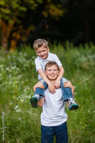 Two brothers having fun