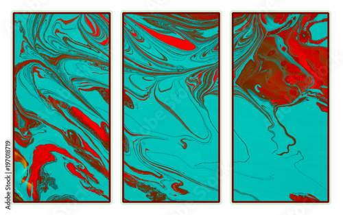 Abstract triptych  of a mix color paints Canvas Print