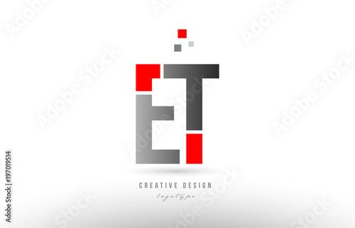 Photo  red grey alphabet letter et e t logo combination icon design