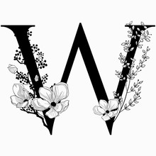 Vector Hand Drawn Floral Uppercase W Monogram And Logo
