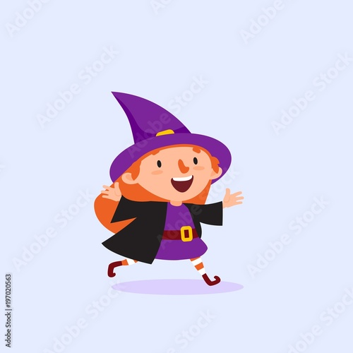 In de dag Indiërs Halloween Witch runs and rejoices Girl in the witch costume Isolated Vector illustration