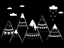Mountains In Black And White Style