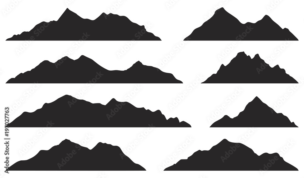 Fototapety, obrazy: Mountains silhouettes on the white background. Vector set of outdoor design elements.