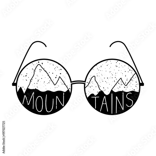 Textured round glasses with hand drawn mountains in shapes of lenses Poster
