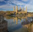 Zaragoza - The Basilica del Pilar and the riverside in morning light.