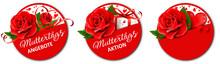 Muttertag Button Angebote Set - Rose, Geschenk Schachtel Und Herz