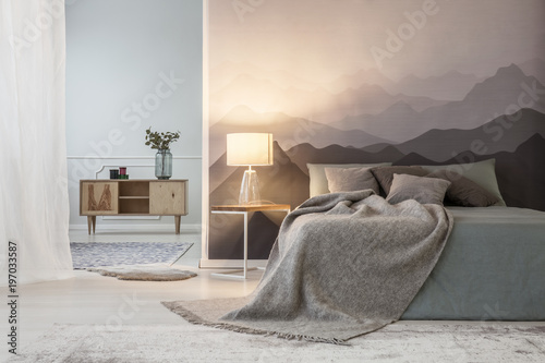 Fotografia  Mountains lover open space bedroom