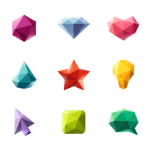 Polygonal Geometric Figures. Set Of Design Elements Or Icons