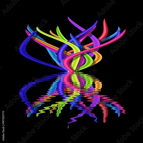 Fotografia, Obraz  Illustration of abstract bright colourful tussock on black background reflected