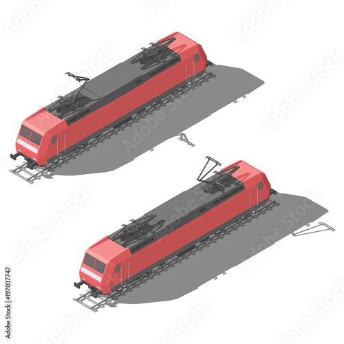 Modern electric locomotive isometric low poly icon set Tapéta, Fotótapéta