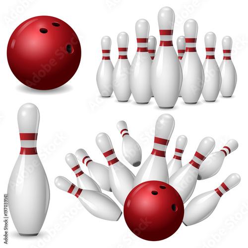 Fotografia Bowling kegling mockup set
