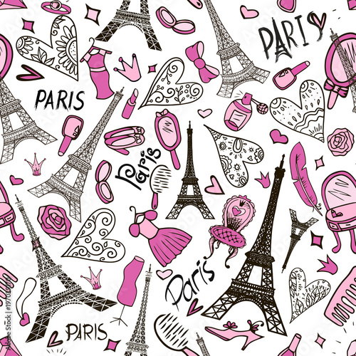Poster Doodle seamless pattern with Eiffel Tower. Paris romantic background.