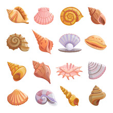 Sea Shell Beach Icons Set. Car...