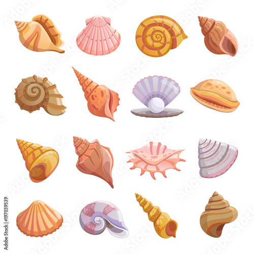 Stampa su Tela Sea shell beach icons set